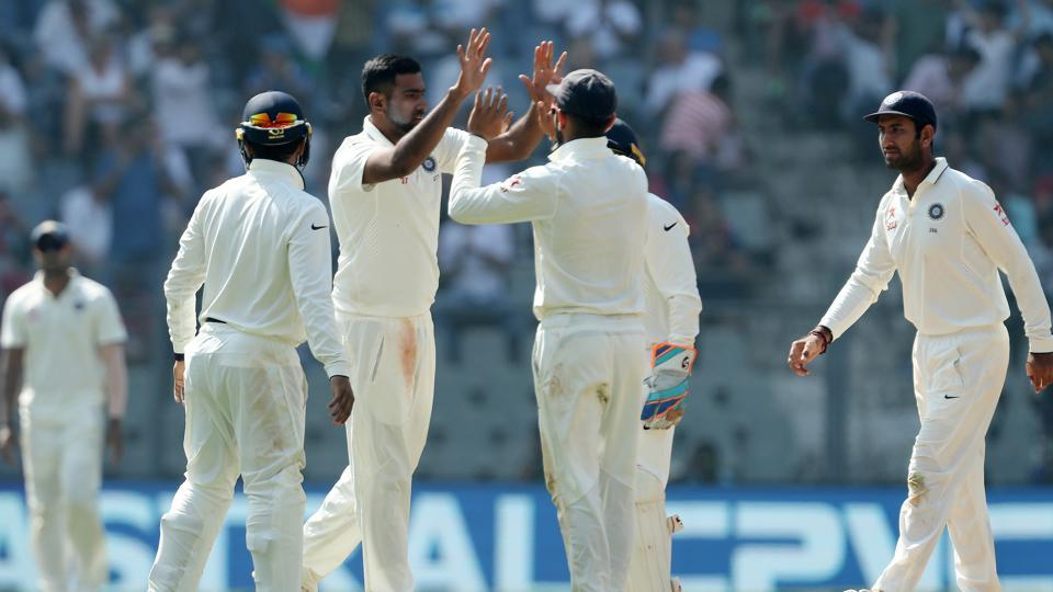 Ravichandran Ashwin of India celebrates the wicket of Jake Ball of England during day 2 of the fourth test match between India and England held at the Wankhede Stadium. (BCCI/ SPORTZPICS)