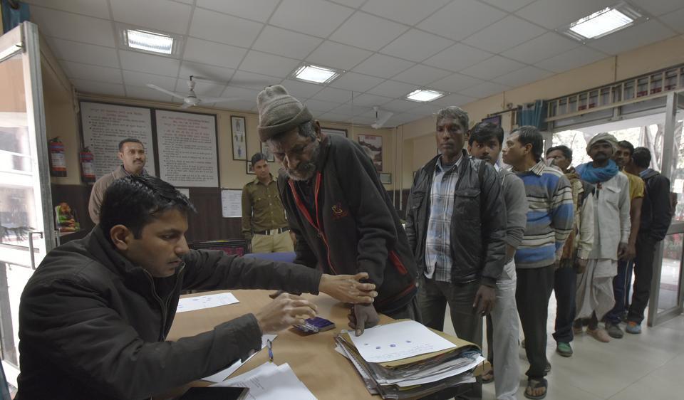 Delhi Police collecting data of beggars at Hauz Khas police station, New Delhi, December 8