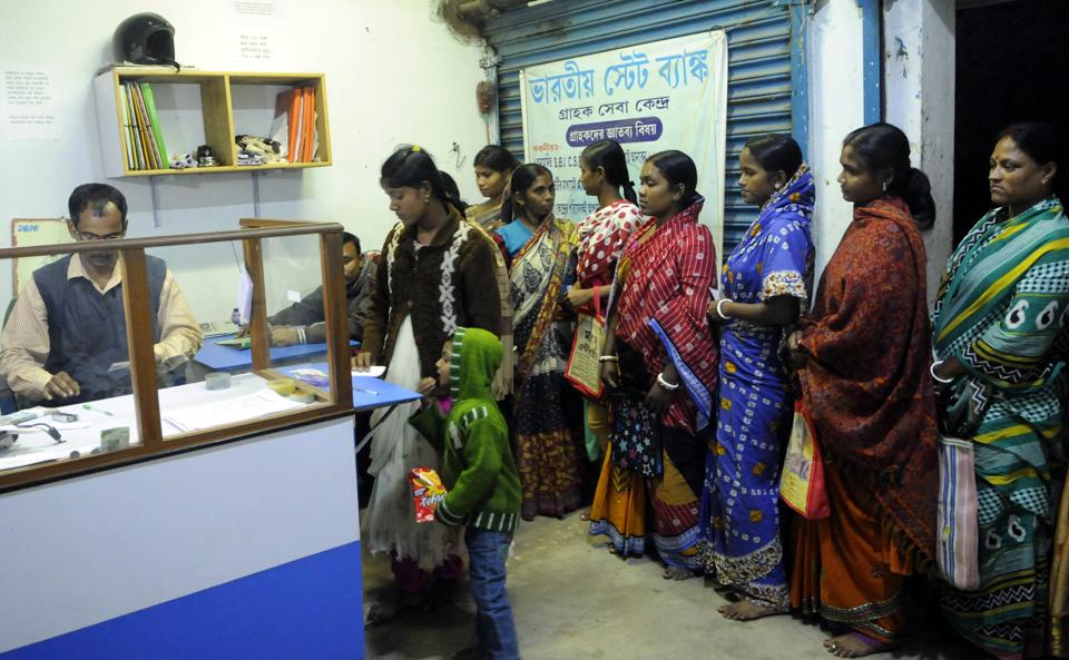 SBI customer service point at Laxbagan on Satjelia island of Sunderbans in West Bengal.