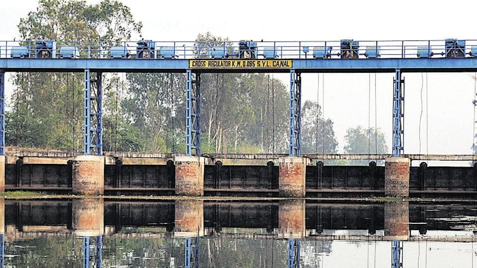 A view of the SYL canal at Kapuri village near Ghanour Town in Patiala.