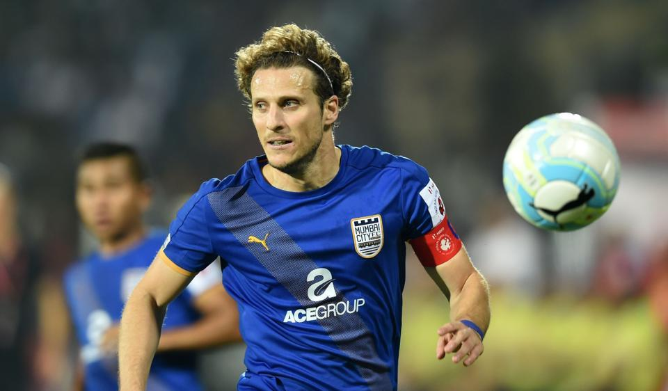 Mumbai City FC captain Diego Forlan vies for the ball during the Indian Super League (ISL) football match against FC Pune City.