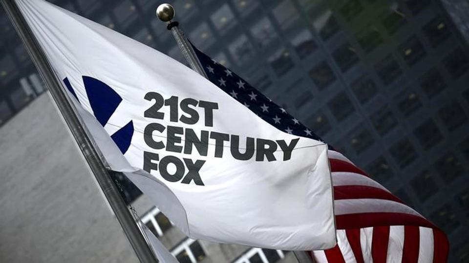 The flag of the Twenty-First Century Fox Inc is seen waving at the company headquarters in the Manhattan borough in New York.