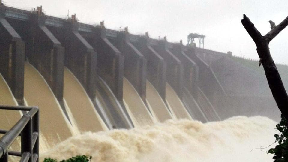 Gates of Maithon dam were opened to drain out excess water that has reached in dam following heavy rains in catchment area since last three days in Dhanbad.