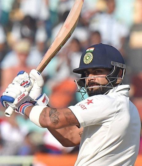 Virat Kohli in action during the second India vs England Test in Visakhapatnam