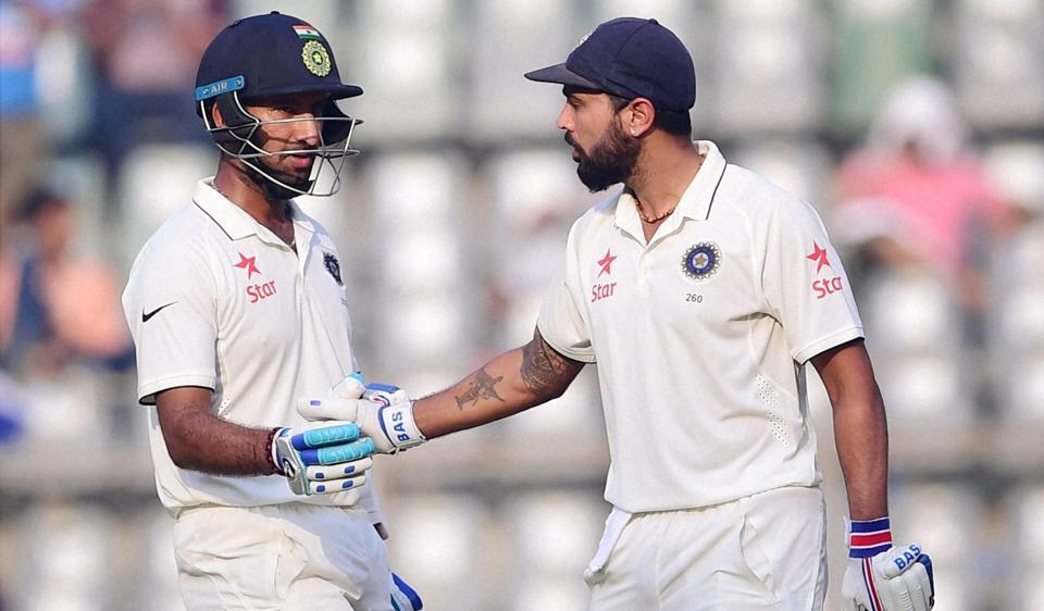 India batsman Murali Vijay and Cheteshwar Pujara in action, the two built a 100 run unbeaten partnership at stumps on the second day of the fourth Test match.
