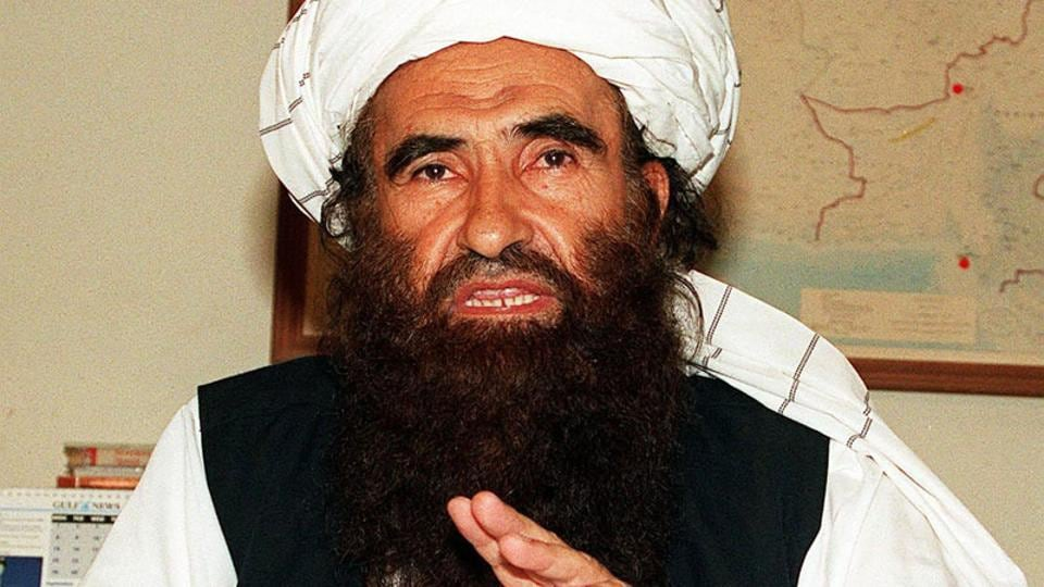 In this photograph taken on October 19, 2001, founder of the Haqqani network Maulvi Jalaluddin Haqqani, gestures as he speaks with a group of media representatives in Pakistan's city of Islamabad.
