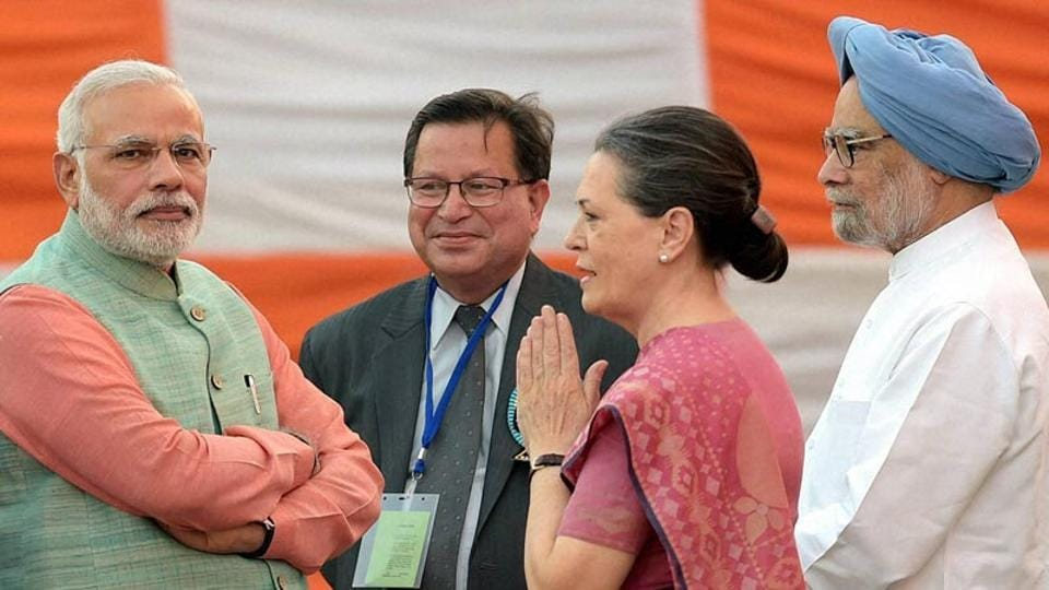 In this file photo from 2014, Prime Minister Narendra Modi, former PM Manmohan Singh and Congress President Sonia Gandhi during Dussehra celebrations at Subhash Maidan in New Delhi.