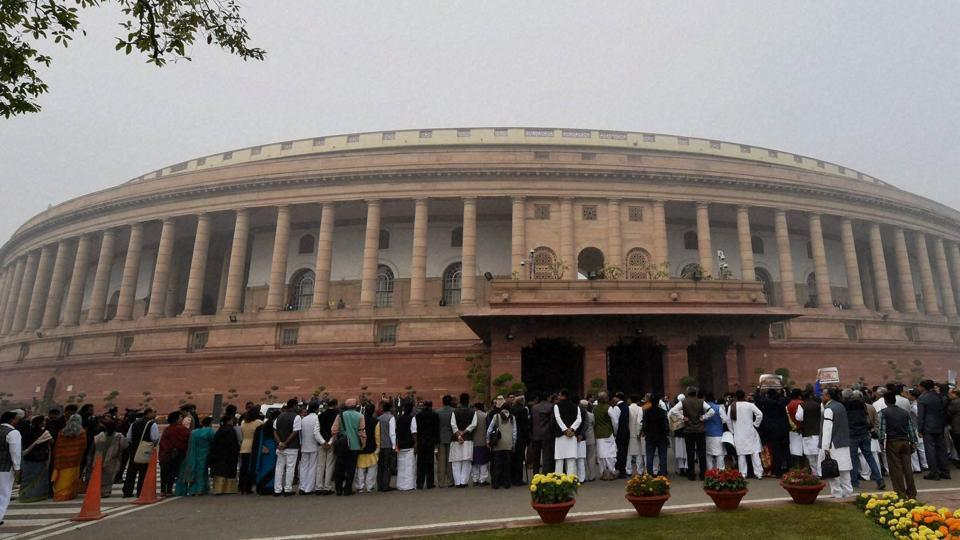 Opposition leaders protest to observe a 'Black Day' against demonetization at Parliament House in New Delhi on Thursday during the Winter Session.