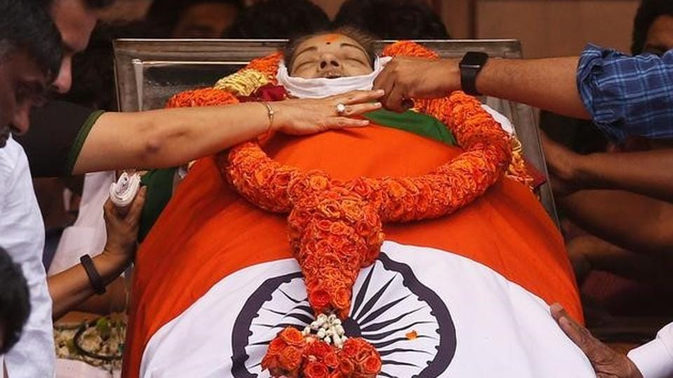 People pay homage to the body of Tamil Nadu Chief Minister Jayalalithaa Jayaraman, who died on Monday, in Chennai, India December 6, 2016.