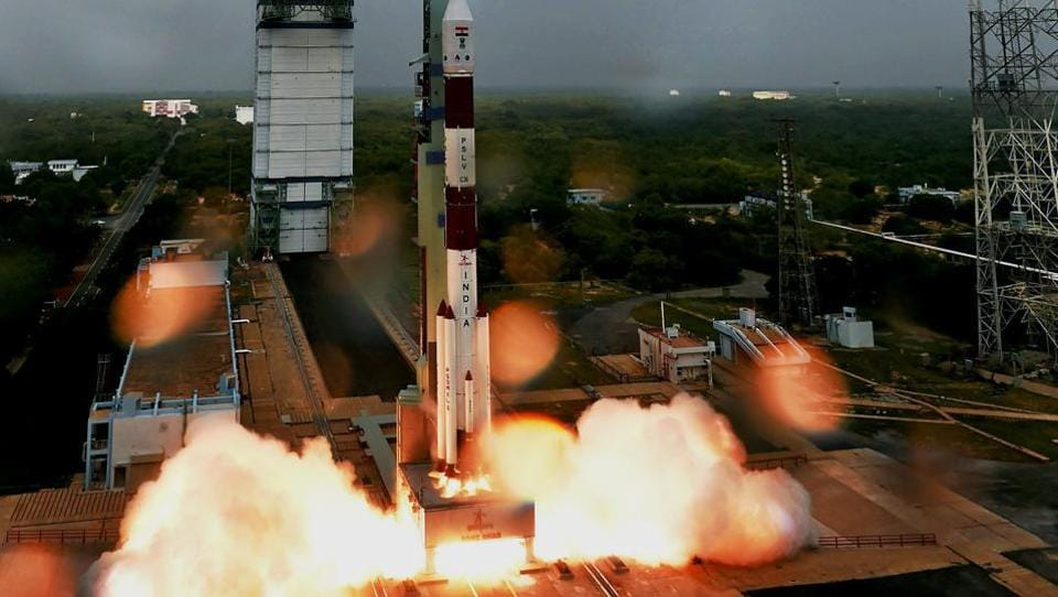 Indian Space Research Organisation PSLV C36 lifts off from Satish Dhawan Space Center in Sriharikota on Wednesday.