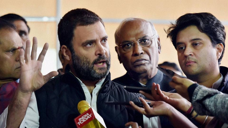 Congress vice president Rahul Gandhi addressed the media after a protest against demonetization during the Winter Session outside the Parliament House in New Delhi on Thursday.