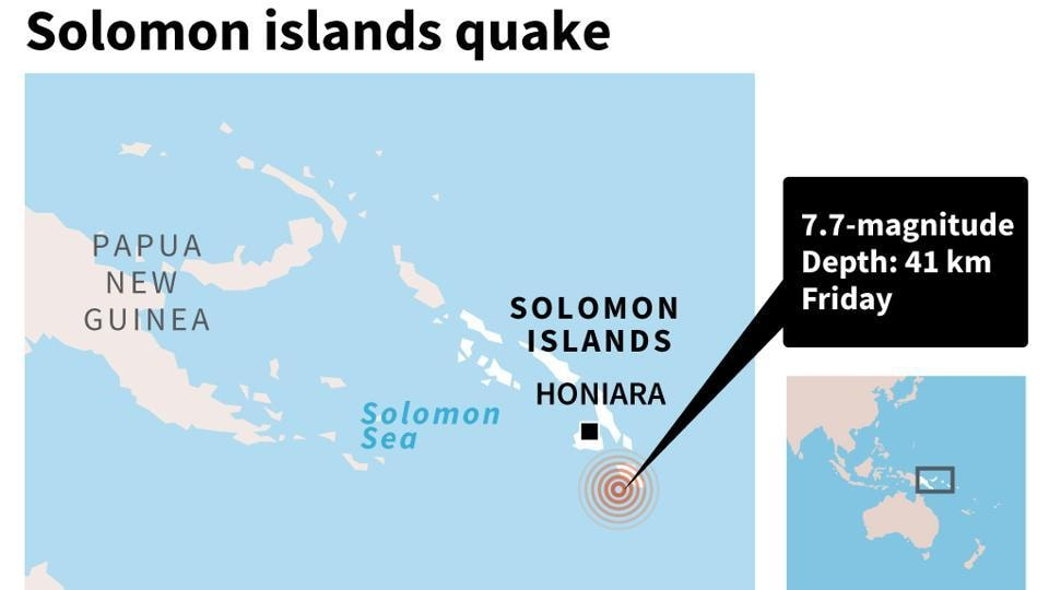 Map locating the quake off the Solomon Islands Friday.