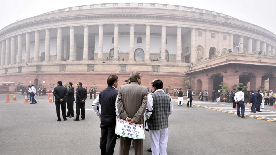 Opposition stages protest at the Gandhi statue inside Parliament premises over demonetisation, in New Delhi.