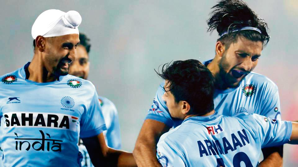Indian player celebrate after scoring against England in their Hockey Junior World Cup Pool Dmatch in Lucknow onSaturday. India beat England 5-3