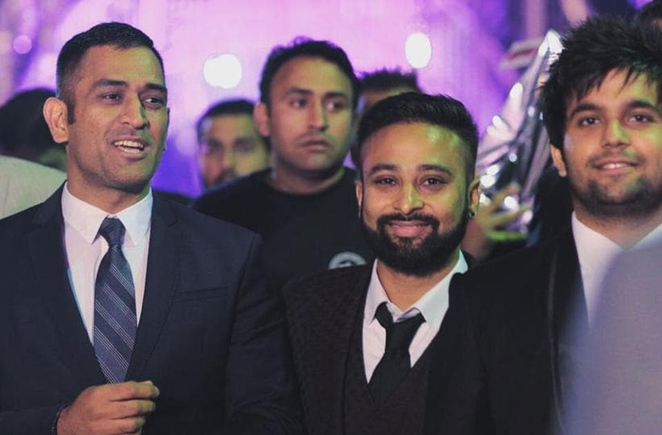 India limited-overs captain Mahendra Singh Dhoni was in attendance at Ishant Sharma's wedding to basketball player Pratima Singh on Friday. (nikita sachdev/ht)