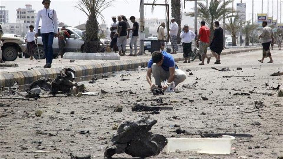 The attacker blew himself up as the troops were waiting to collect their salaries, the government sources added.