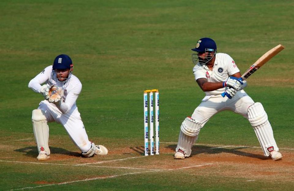 Murali Vijay scored his eighth Test hundred and third against England on day 3 of the fourth Test at Mumbai's Wankhede Stadium.