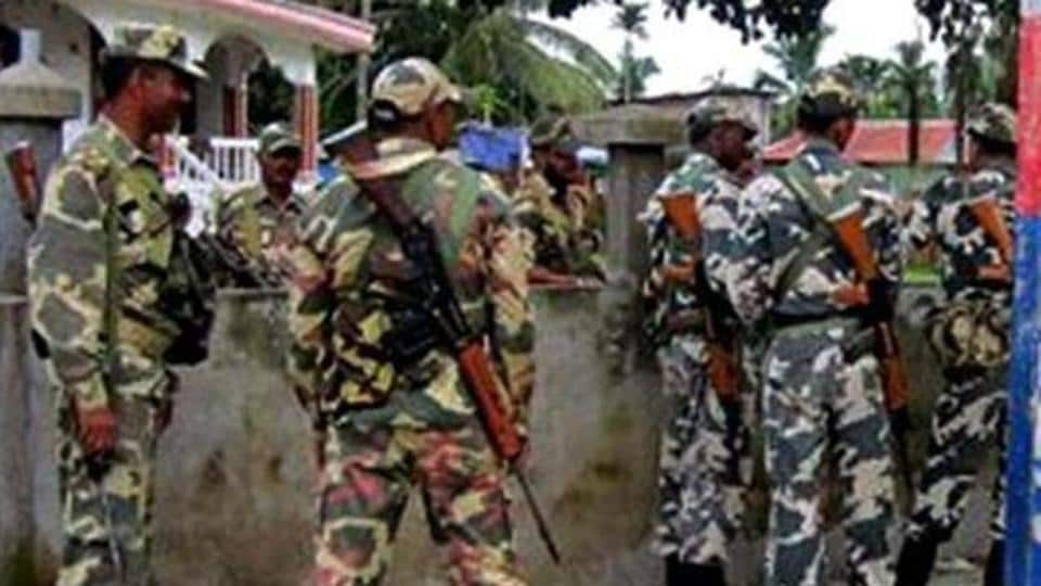 CRPF personnel keeps vigil in Kokrajhar district in the wake of attacks by Bodo militants.