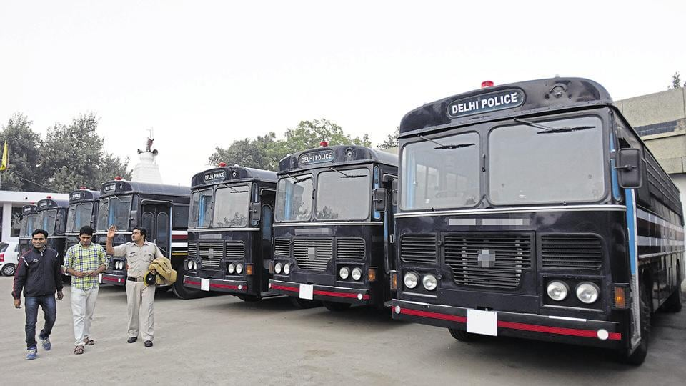The new prison vans parked at the 3rd Battalion Armed Police's headquarters in Vikaspuri, New Delhi.