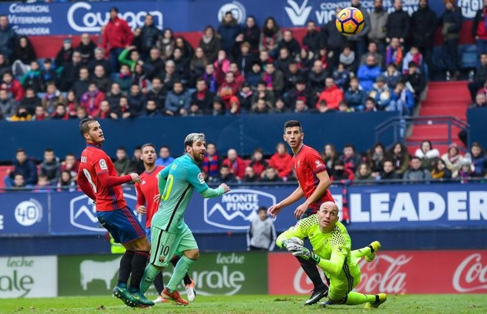 Lionel Messi toyed with the Osasuna defence to grab the third goal for Barcelona.