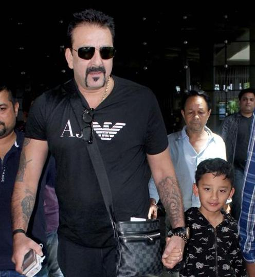 Actor Sanjay Dutt with his son.