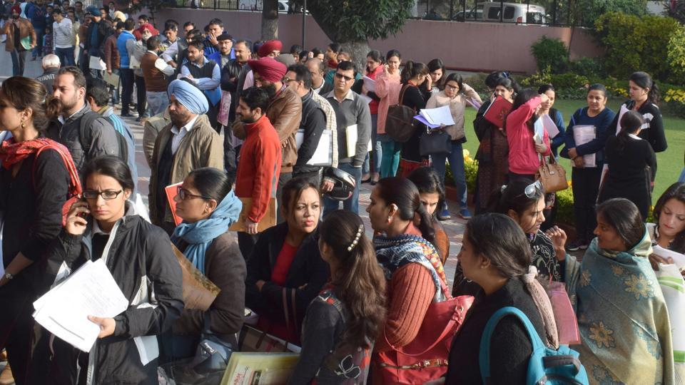 Serpentine queues were witnessed outside Carmel Convent School, Sector 9, Chandigarh on Friday. The school has already received 600 forms for 120 seats in lower kindergarten.