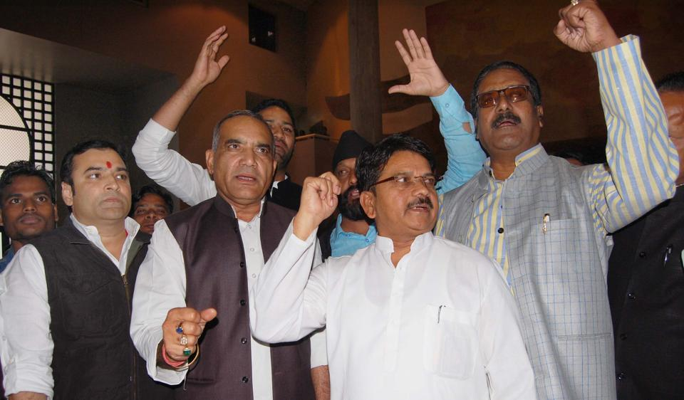Congress MLAs staged a walkout in the state assembly in Bhopal on Friday.