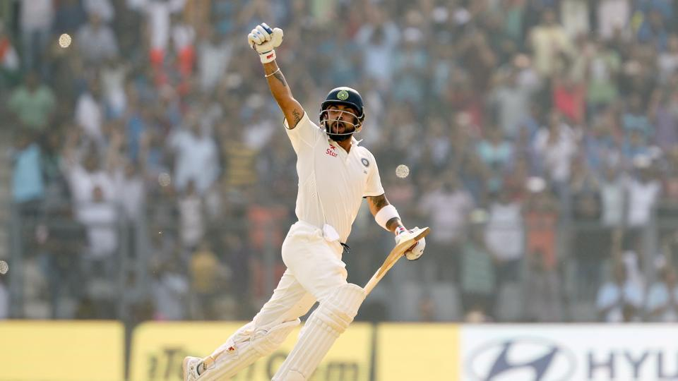 Virat Kohli became the fourth batsmen to go past 1000 runs in Tests in 2016. It was the first time he had achieved this feat. (BCCI)