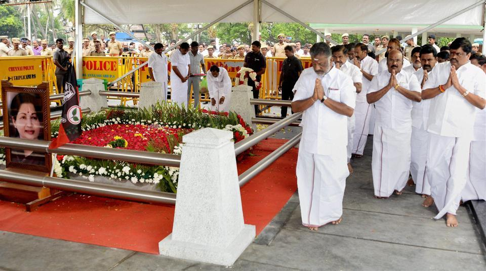 Tamil Nadu chief minister O Panneerselvam and his cabinet colleagues pay homage at the late AIADMK supremo JJayalalithaa's memorial in Chennai.