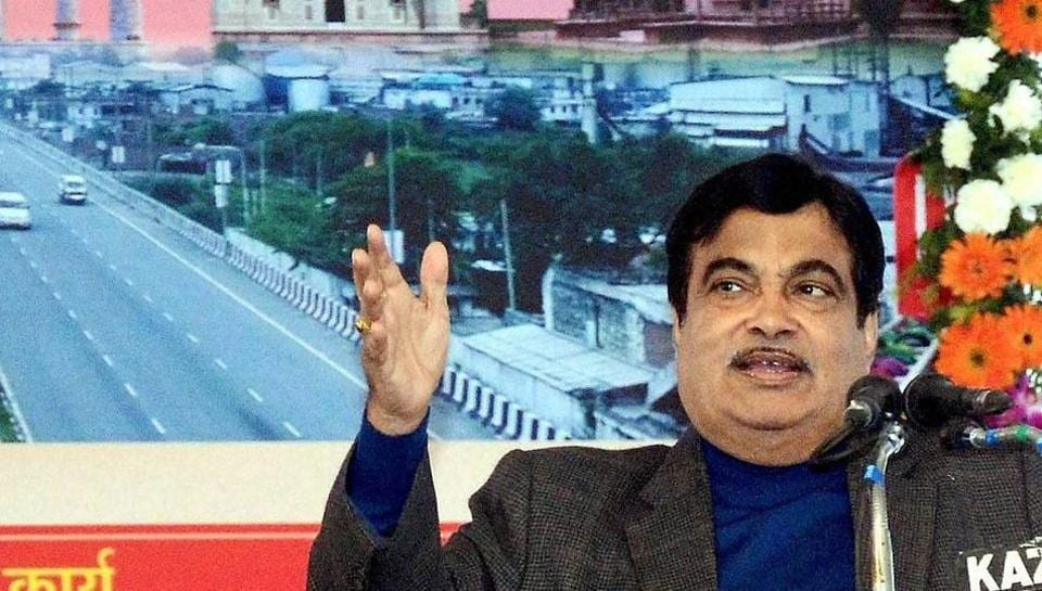 Minister for road transport and highways and shipping Nitin Gadkari at the inauguration of several roads in Agra on Saturday.