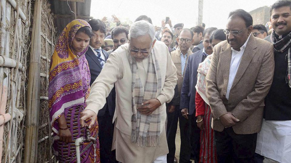 Bihar CM Nitish Kumar during his Nishchay Yatra in Katihar on Saturday.