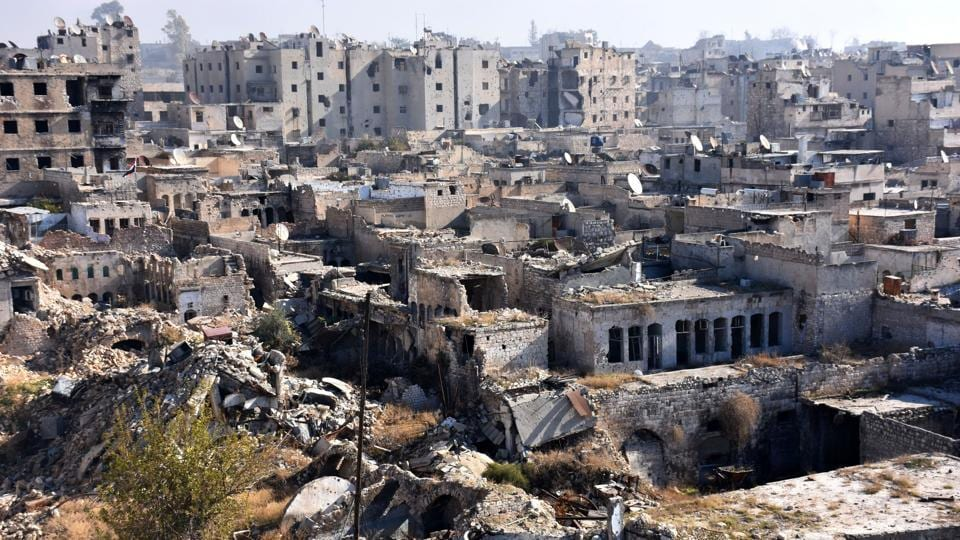 A general view shows damaged buildings in the Qastal al-Harami neighborhood of Aleppo's Old City on December 9, 2016.