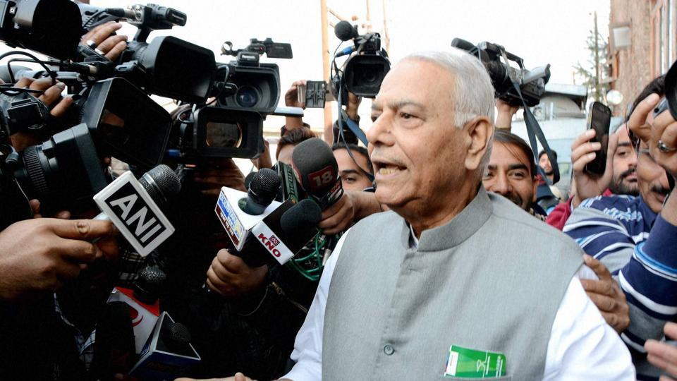 Former Union minister and senior BJP leader Yashwant Sinha addresses the media after meeting with separatist leaders in Srinagar on Oct 26.