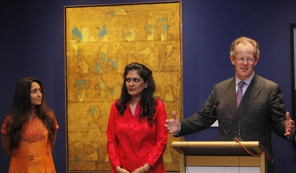 """Deepanjana Klien, International head of department,Sonal Singh, head of sale and William Robinson, international head of department, NY at """"Christie's-The India Sale"""" during press conference in Mumbai."""