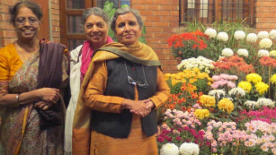 Thirty years of festivity: Gunita Gill (right) with friends