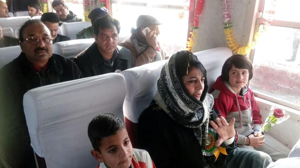 Jammu and Kashmir chief minister Mehbooba Mufti flagged off the 'Vaadi ki Sair ' children's special train in Srinagar on Sunday.