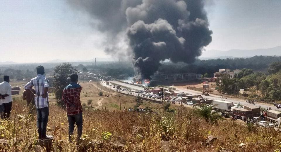 Tanker-truck collision,chemical tanker blows up,highway accident