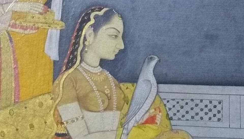 'A Rani on a Terrace' with a Northern goshawk (1746-48) by the Pahari artist, Nainsukh. From the Jagdish & Kamla Mittal Museum of Indian Art, Hyderabad.