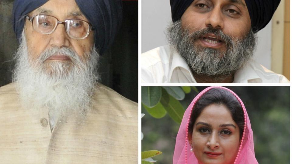 Punjab chief minister ParkashSingh Badal, deputy chief minister Sukhbir Singh Badal and union minister Harsimrat Kaur Badal.