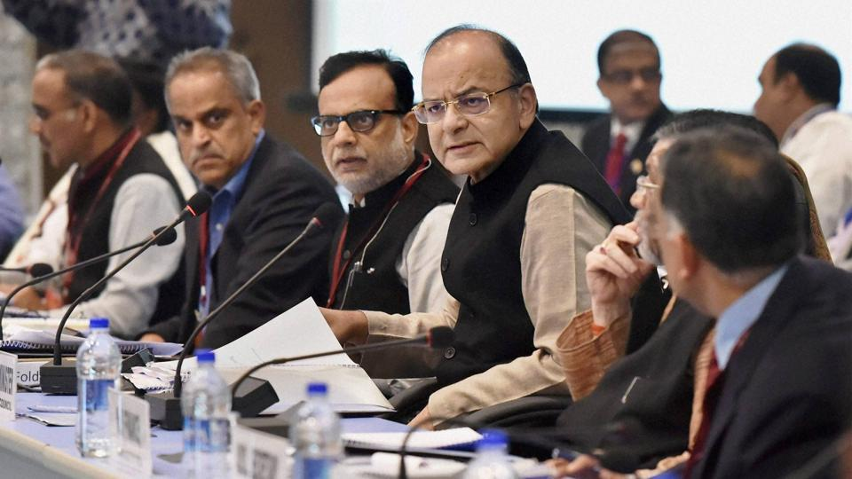Union finance minister Arun Jaitley, revenue secretary Hasmukh Adhia, chairman of Central Board of Excise and Customs Najib Shah and other officials at the 5th Goods and Services Tax (GST) Council meeting in New Delhi on December 4.
