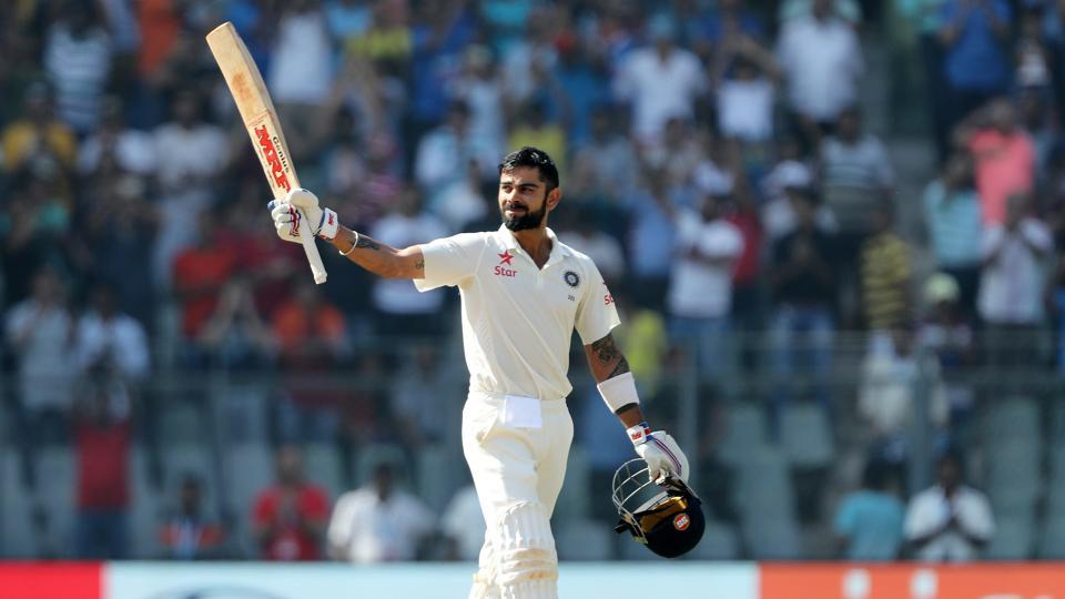 India skipper Virat Kohli celebrates after completing his double century against England on Sunday.