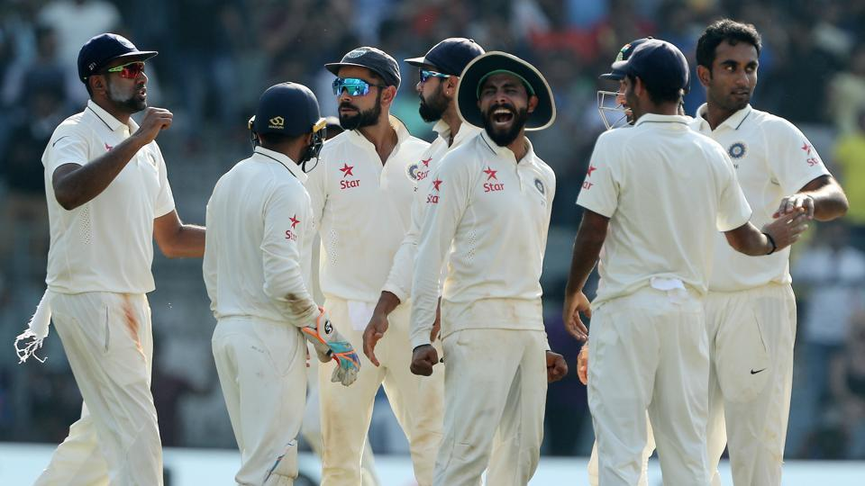 Ravindra Jadeja and Ravichandran Ashwin picked up two wickets each as England were reduced to 182/6 on day 4 of the Wankhede Test.