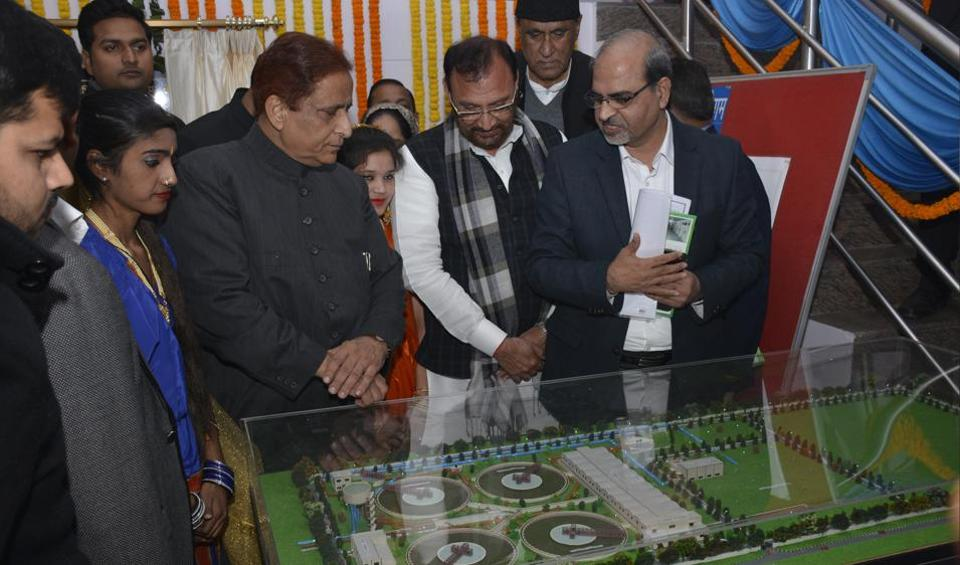 Uttar Pradesh minister Mohammed Azam Khan inaugurated the new 100 cusec Ganga water treatment plant in Ghaziabad on Sunday.