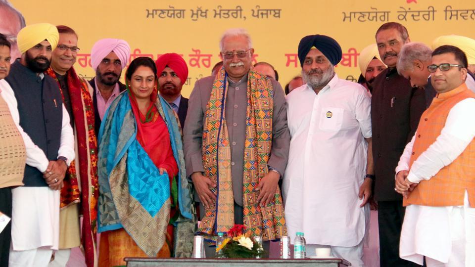 P Ashok Gajapathi Raju,Harsimrat Kaur Badal,Sukhbir SIngh Badal