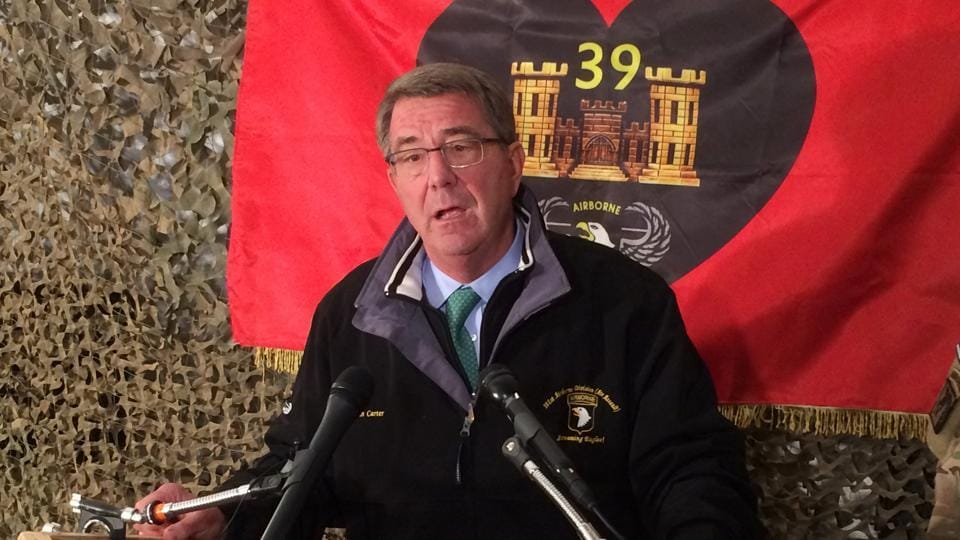 US defence secretary Ash Carter speaks to members of the media at Qayara air base, south of Mosul, Iraq, where he said Iraqi troops are making headway in a tough battle against Islamic State fighters defending their main stronghold in northern Iraq.