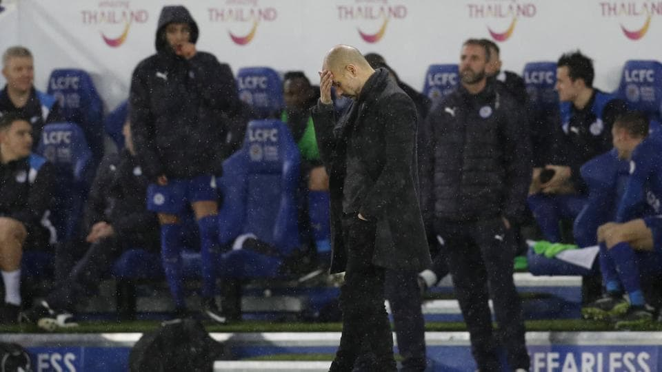 Manchester City manager Pep Guardiola's failed to win a tackle in the first 35 minutes  against Leicester.