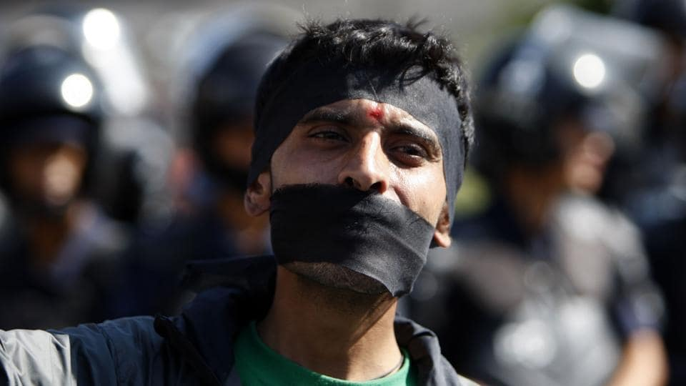 A Nepalese activist from the Federal Alliance (members of the Madhesi and ethnic communities) to voice their anti-constitution concerns on the first anniversary of Nepal's constitution in Kathmandu on September 19.