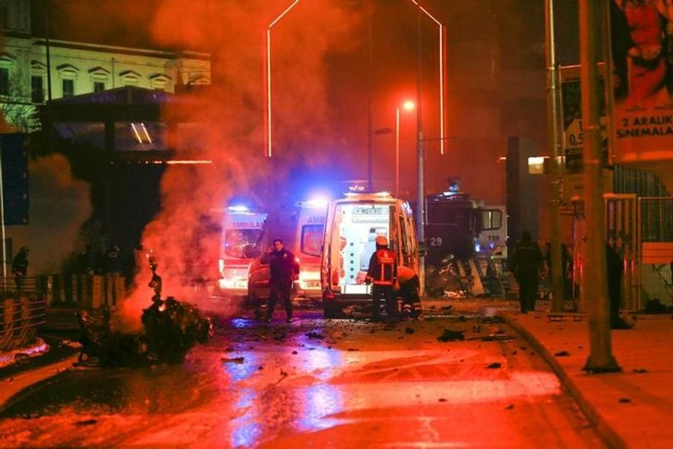 Police arrive at the site of an explosion in central Istanbul, Turkey.