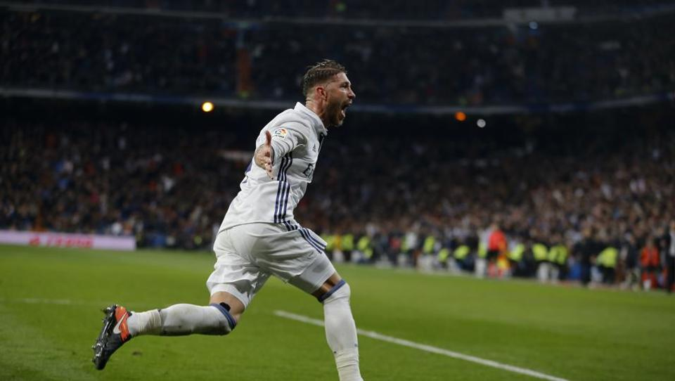 Real Madrid's Sergio Ramos celebrates after scoring the winning goal against Deportivo.