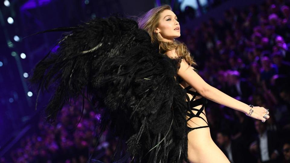 Gigi Hadid during the 2016 Victoria's Secret Fashion Show in Paris on November 30.